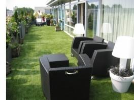 Použitie trávniku na terase