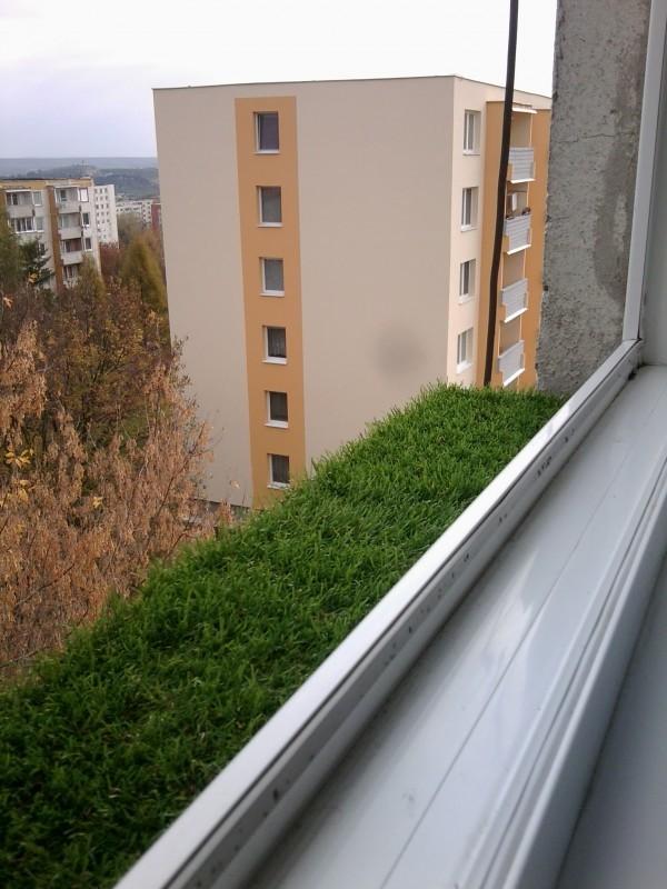 Umelá tráva na parapete